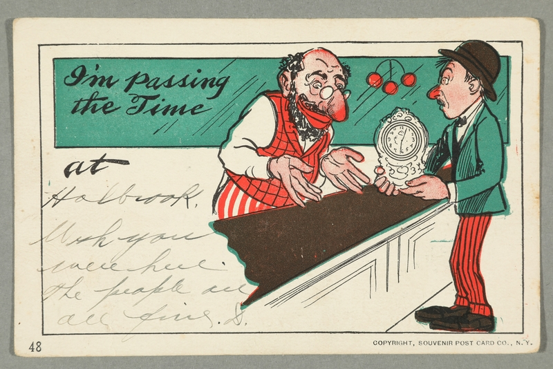 2016.184.742 front Inscribed postcard of a Jewish pawnbroker, a customer, and a mantel clock
