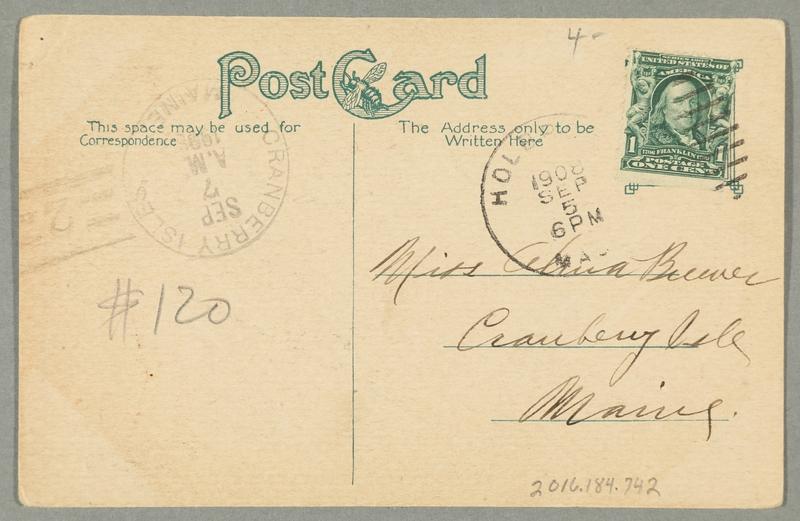 2016.184.742 back Inscribed postcard of a Jewish pawnbroker, a customer, and a mantel clock
