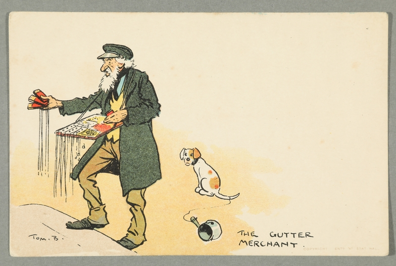 2016.184.743 front Illustrated postcard of a Jewish street peddler and a dog