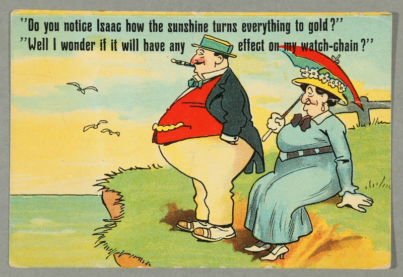 2016.184.744 front Postcard of a fat, prosperous Jewish couple on a waterside cliff