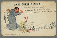 2016.184.745 front Inscribed postcard of a Jewish woman with an overturned food basket  Click to enlarge