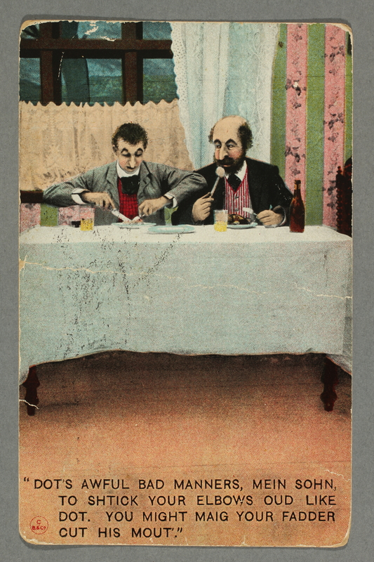2016.184.746 front Postmarked postcard making fun of the accent of a Jewish father eating with his son