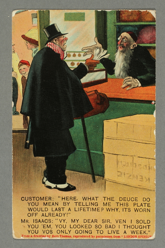 2016.184.747 front Inscribed postcard of a man holding cutlery complaining to a Jewish shopkeeper