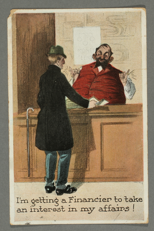 2016.184.750 front Inscribed postcard of a fat pawnbroker in a red vest talking to a customer