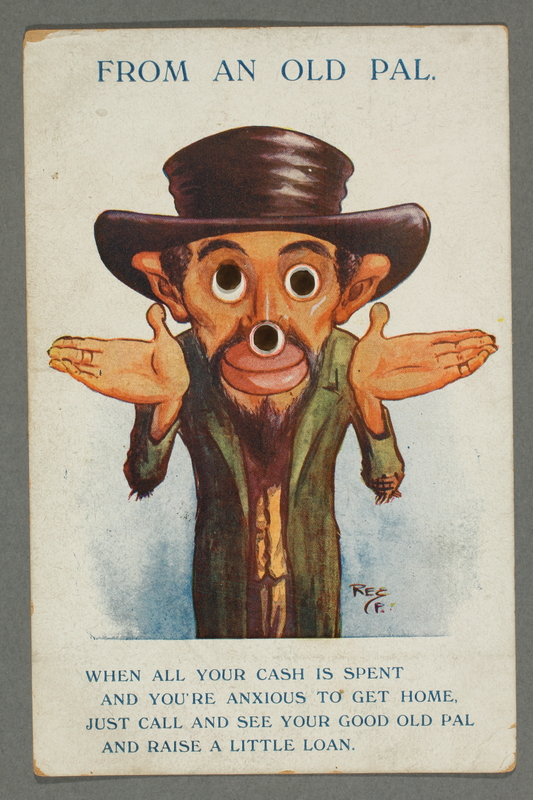 2016.184.751 front Cartoon postcard of a man with brass button eyes and nose