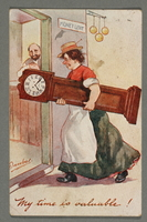 2016.184.754 front Inscribed postcard of a woman carrying a grandmother clock  Click to enlarge