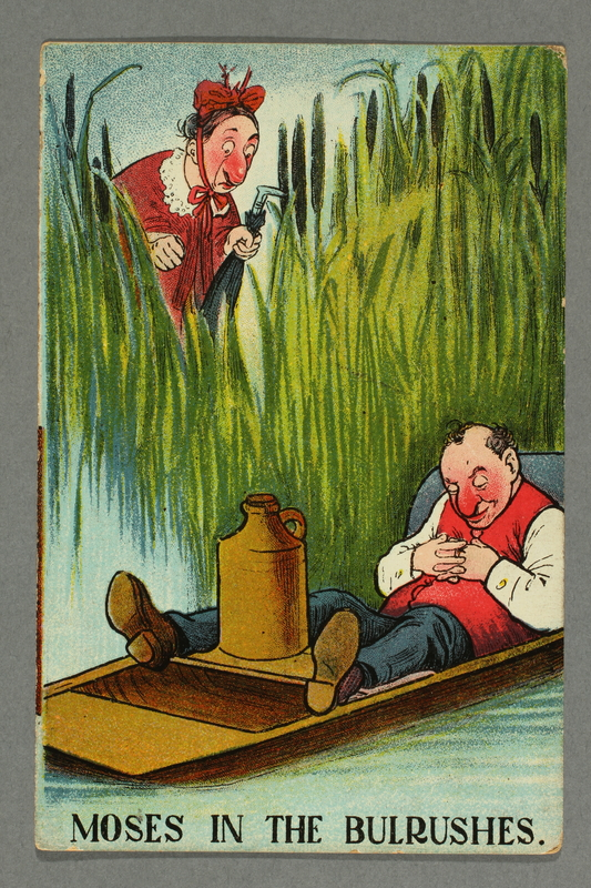 2016.184.756 front Cartoon postcard of a Jewish man napping in a boat surrounded by bulrushes