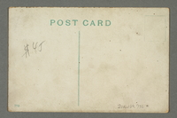 2016.184.756 back Cartoon postcard of a Jewish man napping in a boat surrounded by bulrushes  Click to enlarge