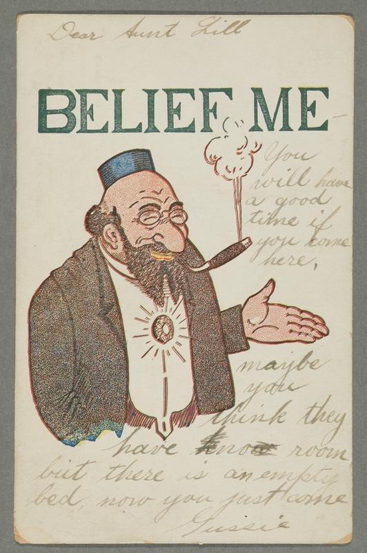 2016.184.757 front Inscribed postcard of a smiling Jewish man smoking a cigar
