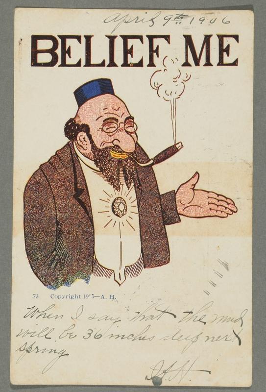 2016.184.758 front Inscribed postcard of a smiling Jewish man smoking a cigar