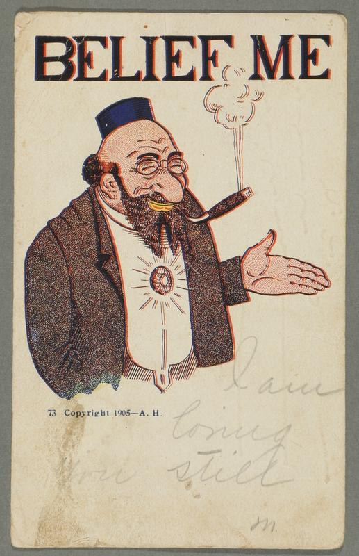 2016.184.759 front Inscribed postcard of a smiling Jewish man smoking a cigar