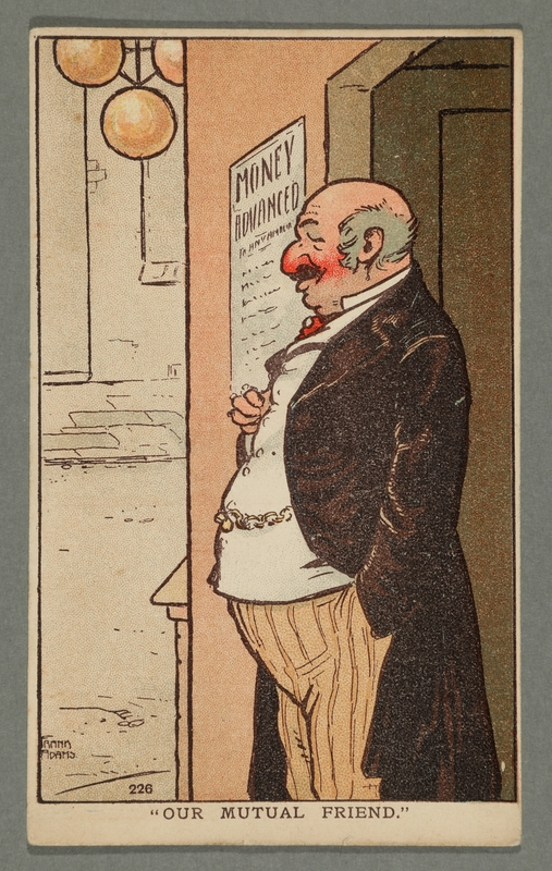 2016.184.760 front Cartoon postcard of a Jewish man in a pawnshop doorway
