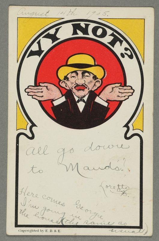 2016.184.761 front Inscribed postcard of a shrugging Jewish man in a yellow hat