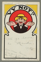 2016.184.761 front Inscribed postcard of a shrugging Jewish man in a yellow hat  Click to enlarge