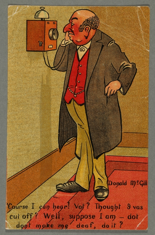 2016.184.762 front Inscribed postcard of a Jewish man talking on the phone