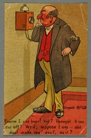 2016.184.762 front Inscribed postcard of a Jewish man talking on the phone  Click to enlarge