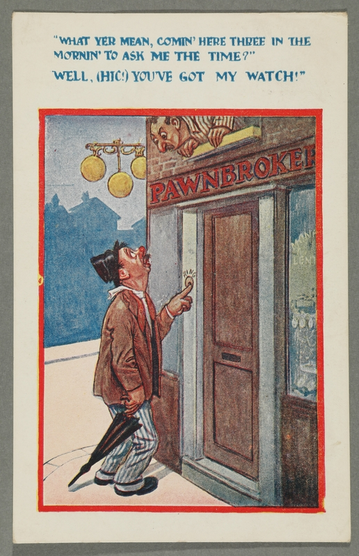 2016.184.763 front Inscribed postcard of a drunk man at a pawnshop at night