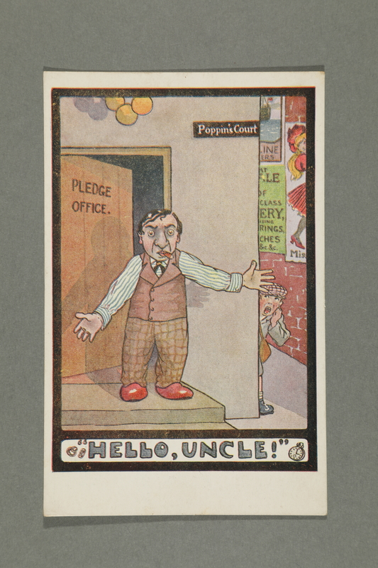 2016.184.764 front Postcard of a Jewish man at a Pledge Office door