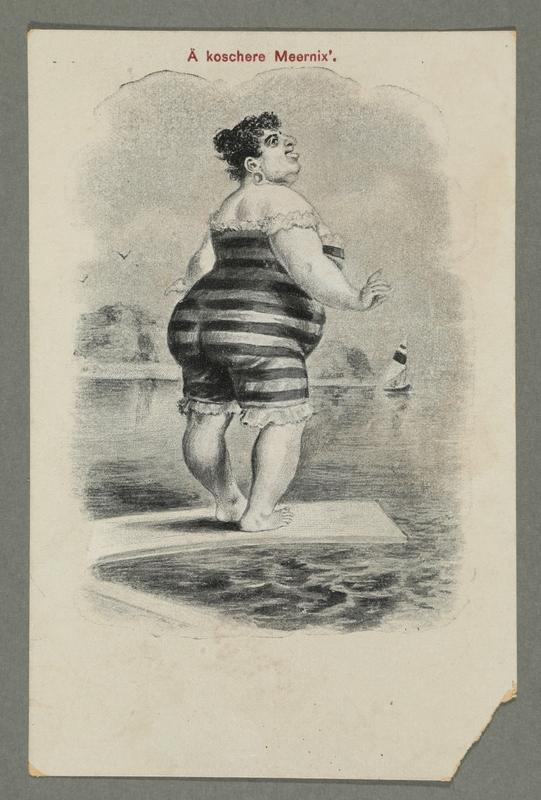 2016.184.765 front Postcard of a fat woman in a striped bathing suit