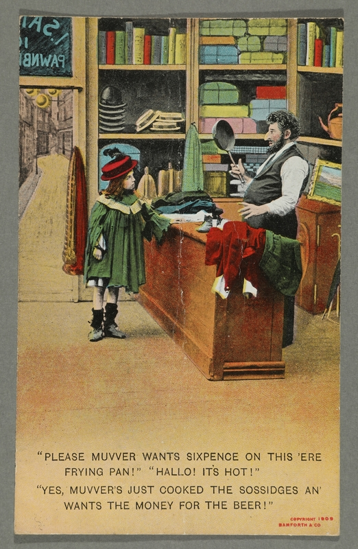 2016.184.768_front Postcard of a girl offering a hot frying pan to a Jewish pawnbroker