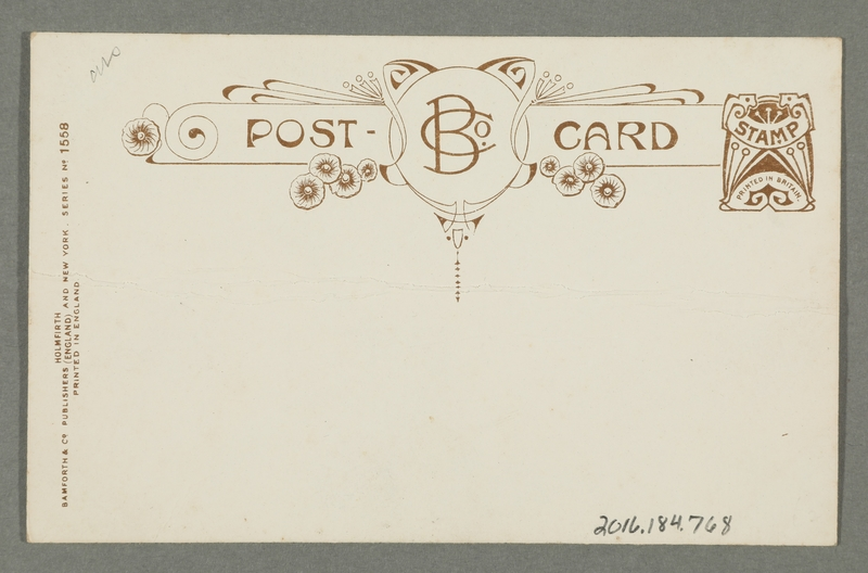 2016.184.768_back Postcard of a girl offering a hot frying pan to a Jewish pawnbroker