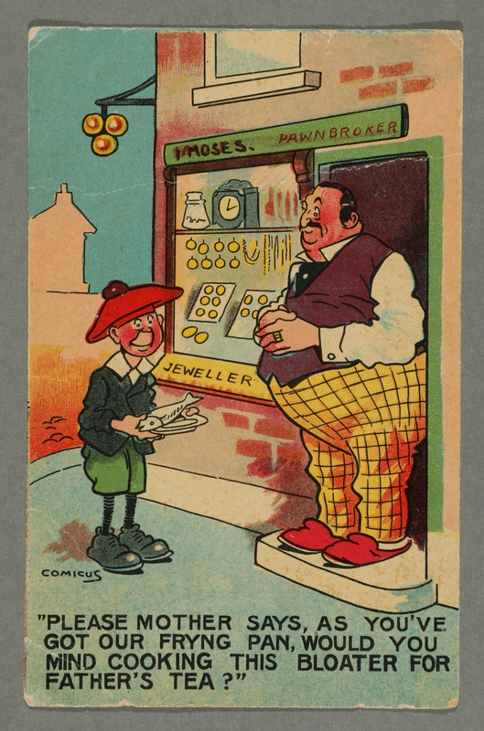 2016.184.771_front Inscribed postcard of a boy showing a fish to a pawnbroker
