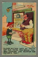 2016.184.771_front Inscribed postcard of a boy showing a fish to a pawnbroker  Click to enlarge