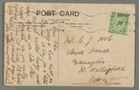 2016.184.771_back Inscribed postcard of a boy showing a fish to a pawnbroker  Click to enlarge