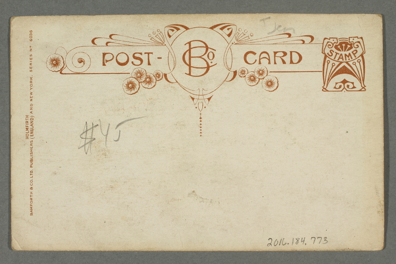 2016.184.773 back Postcard of a judge questioning a Jewish man in court