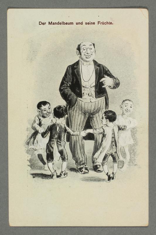 2016.184.774 front Postcard of 4 children dancing around a Jewish man
