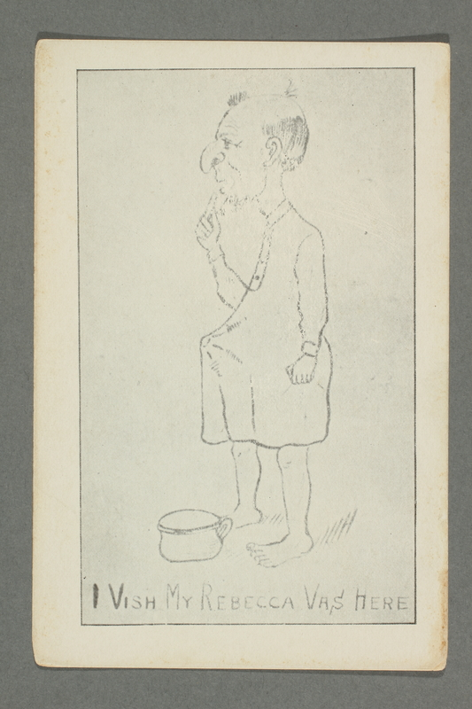 2016.184.775 front Postcard of an aroused man in a nightshirt