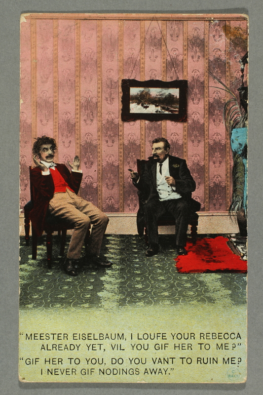 2016.184.776 front Postcard of a Jewish father talking to a prospective son-law
