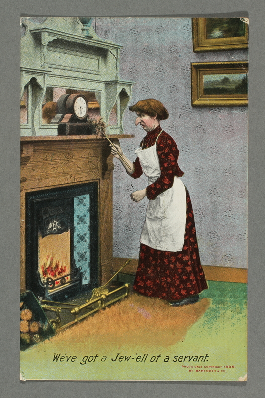 2016.184.777 front Postcard of a Jewish woman dusting a mantel clock