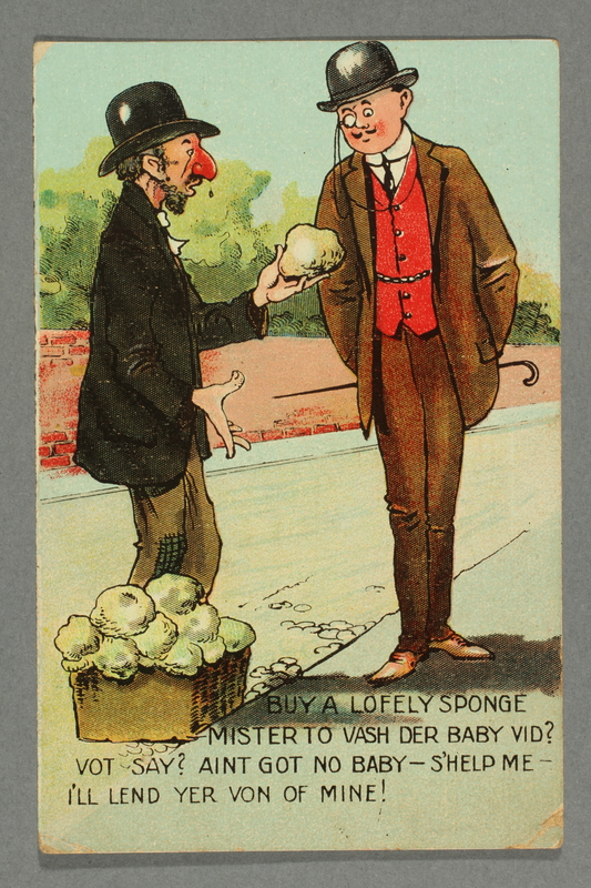 2016.184.779 front Inscribed postcard cartoon with a Jewish peddler