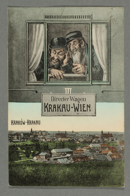 2016.184.781 front Postcard with a drawing of 2 Jewish men on the Krakow-Vienna train