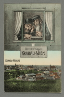 2016.184.781 front Postcard with a drawing of 2 Jewish men on the Krakow-Vienna train  Click to enlarge