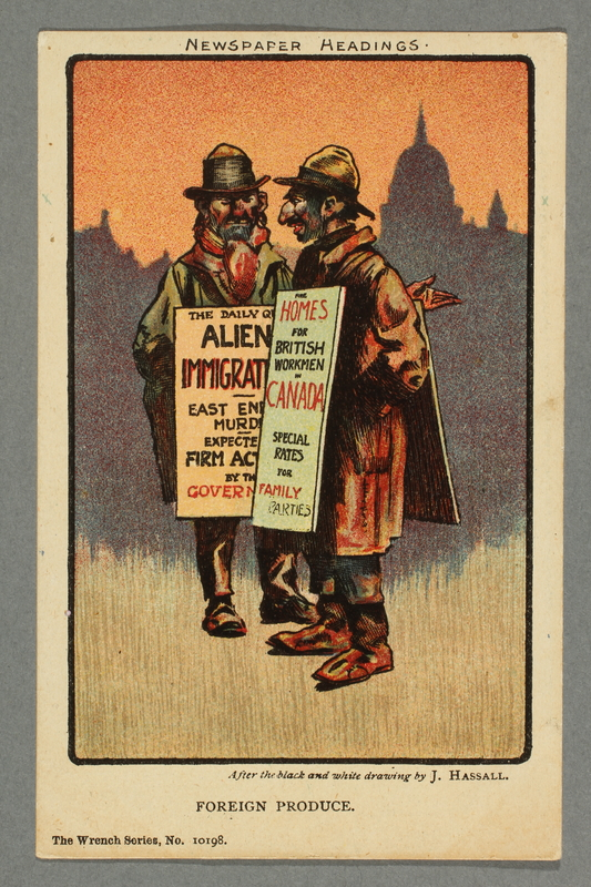 2016.184.782 front Postcard cartoon of 2 Jews promoting Canadian immigration