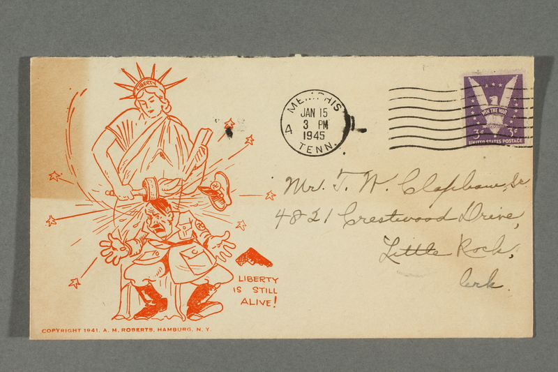 2016.184.784 front Envelope with a cartoon of the Statue of Liberty hitting Hitler with her torch