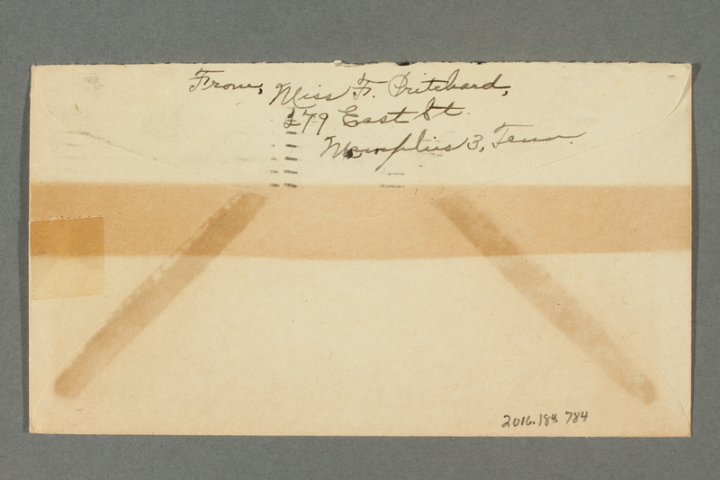 2016.184.784 back Envelope with a cartoon of the Statue of Liberty hitting Hitler with her torch