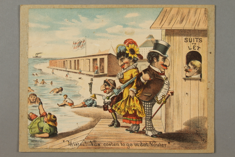 2016.184.791 front Antisemitic cartoon of a Jewish family at the beach