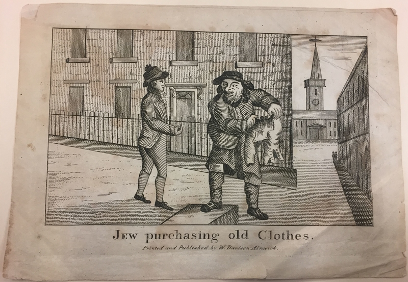 2016.184.794 front Etching of a Jewish peddler buying a pair of breeches