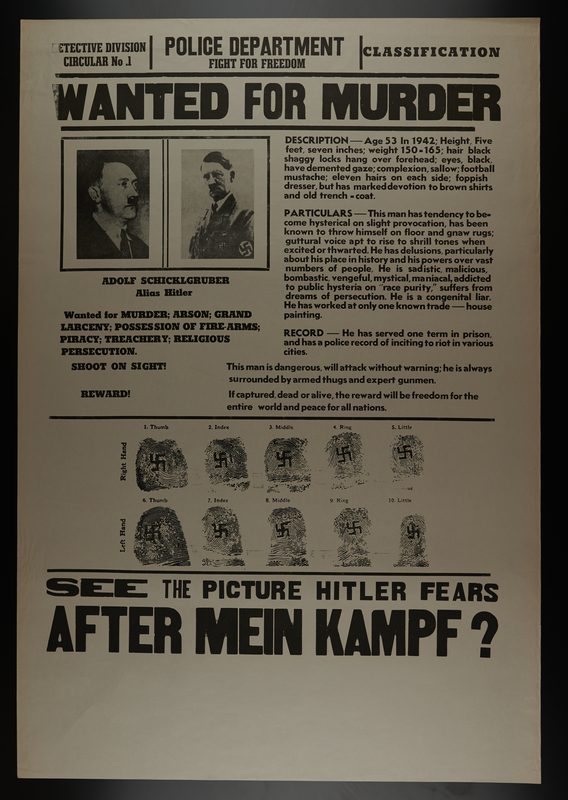 2009.295.2 front Hitler, aka Adolf Schicklgruber, wanted for murder poster