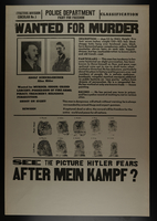 2009.295.2 front Hitler, aka Adolf Schicklgruber, wanted for murder poster  Click to enlarge