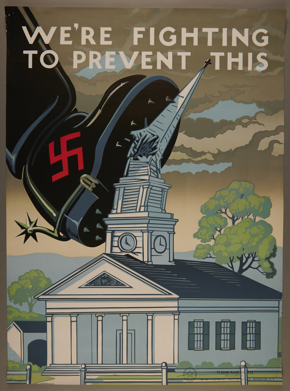 2015.572.4 front US war poster of a Nazi boot crushing a church