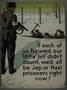 US homefront poster of  a German soldier making prisoners dig a ditch