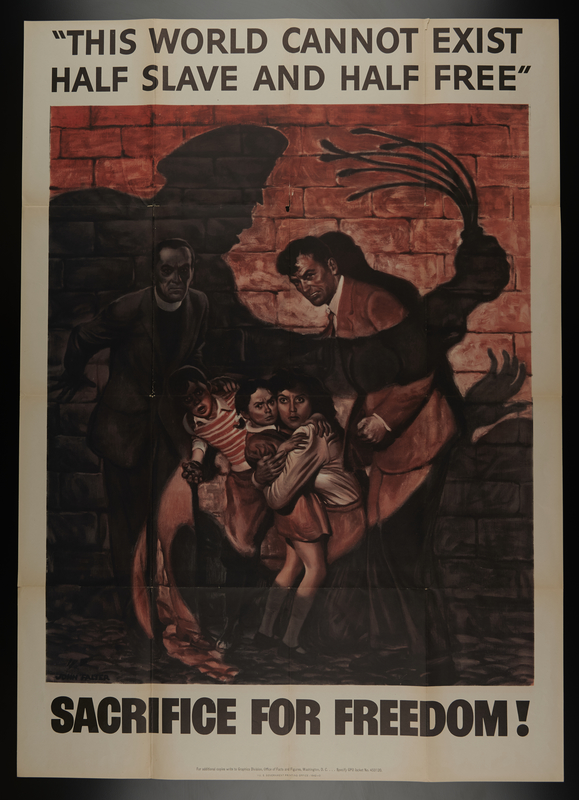 2015.572.8 front US homefront poster showing people, backs to the wall, bring threatened with violence