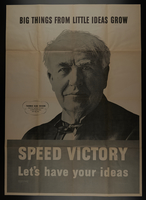 2015.572.9 front US homefront poster with an image of Thomas Edison  Click to enlarge
