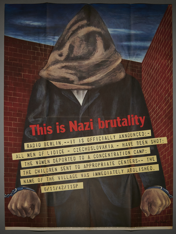2015.572.11 front Ben Shahn poster with an image of a hooded man protesting the Nazi destruction of Lidice