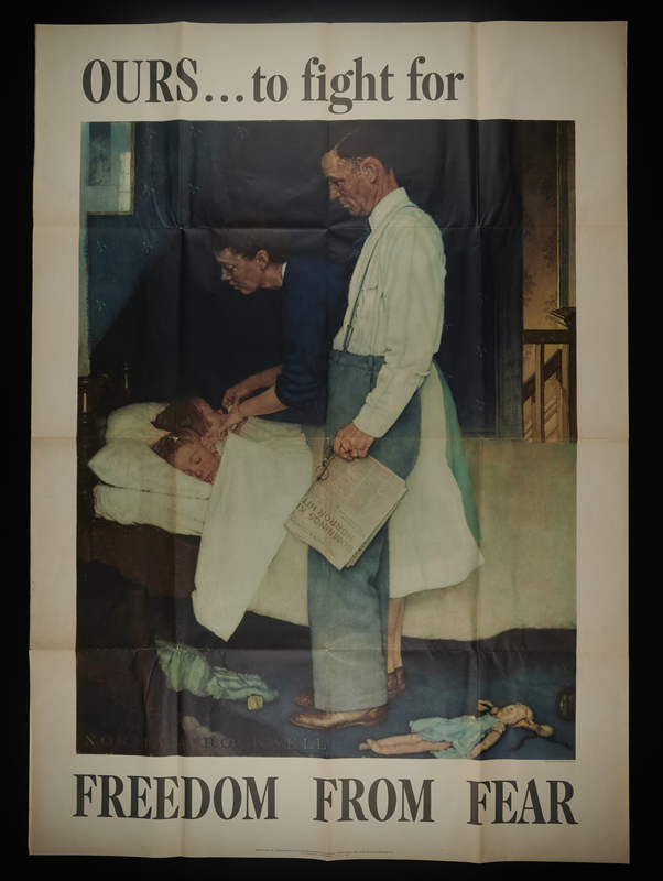 2016.201.4 front US war bonds poster of a Rockwell painting depicting a couple checking on their sleeping children