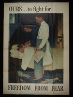 2016.201.4 front US war bonds poster of a Rockwell painting depicting a couple checking on their sleeping children  Click to enlarge